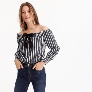 J. Crew Off Shoulder Striped Top With Bow